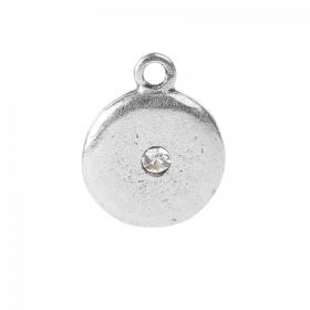 Nunn Design Antique Silver CZ Crystal Disk Charm 14mm Pk1
