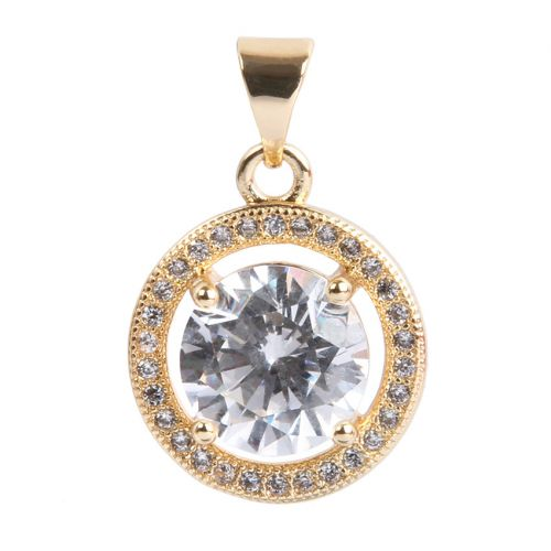 Gold Plated Heart Round Charm w/Bail Zircon Crystals 14mm Pk1