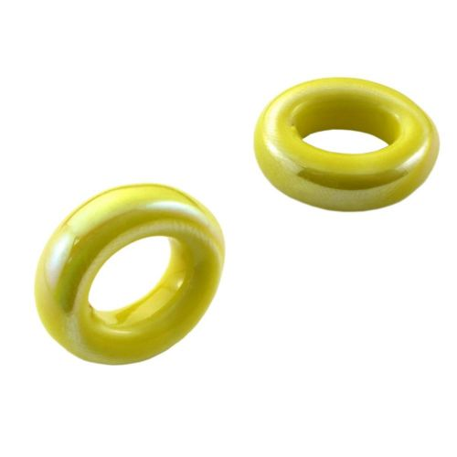 Ceramic beads / rondelle / 6x18x20mm / yellow / iridescent / hole 8x11mm / 2pcs