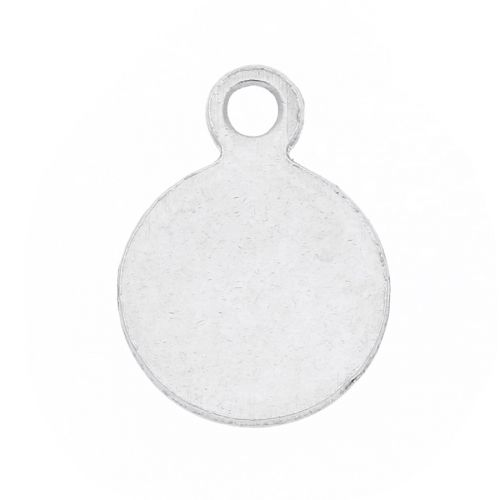 Circle / pendant / surgical steel / 9.5x7x1mm / silver / 8pcs