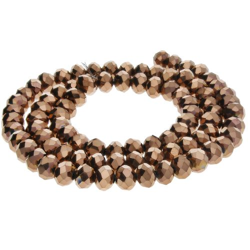 CrystaLove™ crystals / glass / rondelle / 4x6mm / dark brown / lustered / 86pcs