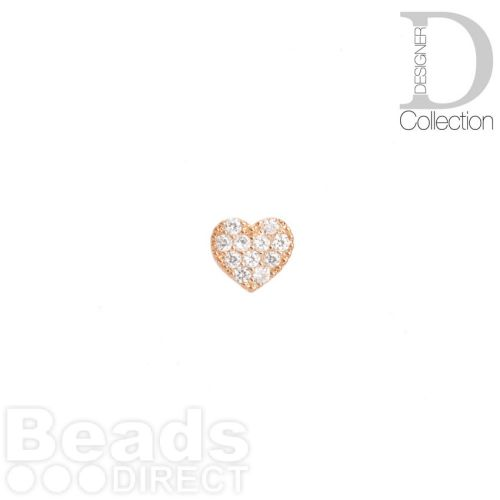 Rose Gold Plated Flat Heart Bead Cubic Zirconia 8mm Pk1