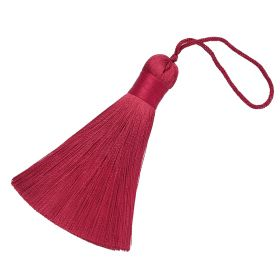 Tassel / viscose thread / with wide braid / 85mm / width 11mm / light maroon / 1pcs