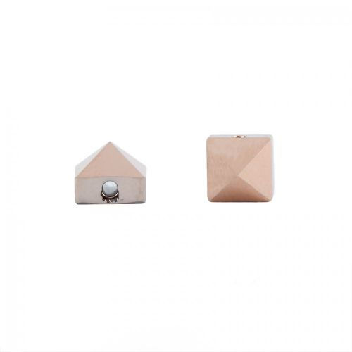 5061 Swarovski Square Spike One Hole Bead 5.5mm Crystal Rose Gold Pk6