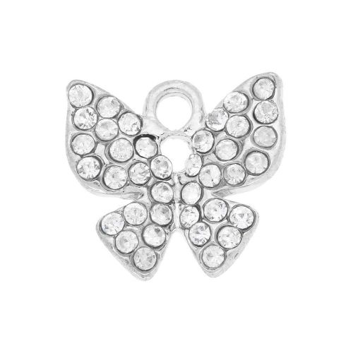 Glamm ™ Butterfly / charm pendant / with zircons / 13x14x2.5mm / silver plated/ Crystal / 1pcs