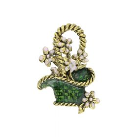 FancyCharm™ / flowers / charm pendant / 21x15x4mm / antique gold / green / 1pcs