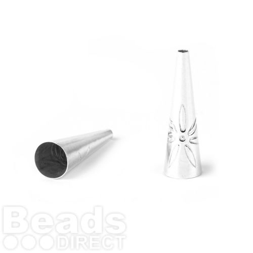 Sterling silver 925 Cone with Flower Design 5mm 5.5x19mm Pk2