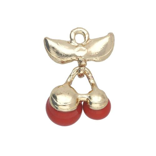 Glamm ™ Cherries / charm pendant / with zircons / 21x14x10mm / gold plated / red / 1pcs