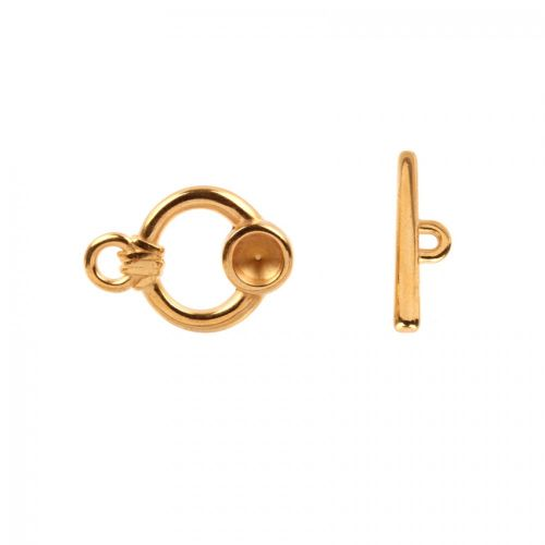 Gold Plated Round Toggle Clasp 23mm Holds x1 SS39 Chaton Pk1
