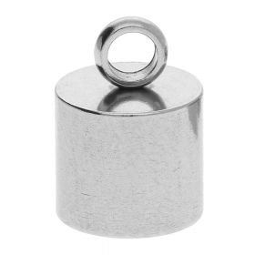 End cap / surgical steel / 15x10x10mm / silver / hole 9mm / 2pcs