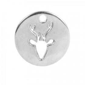 Antique Silver Zamak Cut Out Deer Head Charm 18mm Pk1