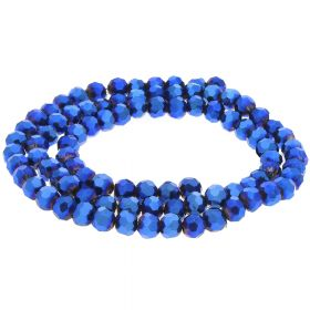 CrystaLove™ / glass crystals / round / 4mm / dark blue / lustered / 100pcs