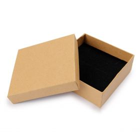 Brown Paper Square Jewellery Box 9x9x3cm with Foam Pad Pk1