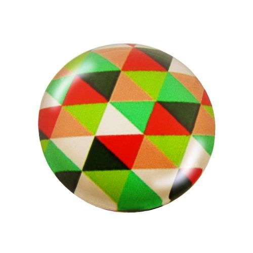Glass cabochon with graphics K25 PT1036 / green-red / 25mm / 2pcs