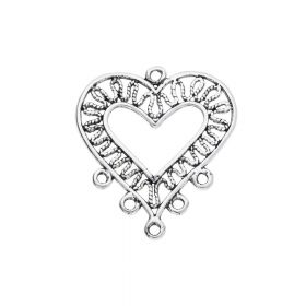 Earring base / heart / connector / 5 loops / 29x26x1mm / hole 1.5mm / 2pcs
