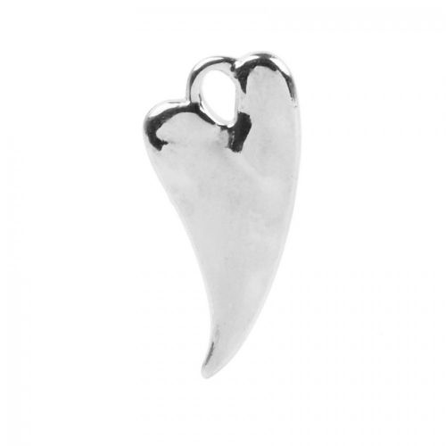 Antique Silver Zamak Irregular Heart Charm 11x23mm Pk1