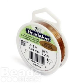 Beadalon 7 Strand Flexible Beading Wire 'Satin Gold Colour' 0.015in 30ft