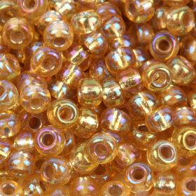 Miyuki Size 8 Round Seed Beads Silver Lined Gold AB 22g Tube