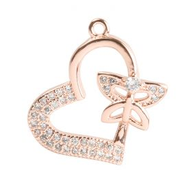 Rose Gold Plated Heart Butterfly Charm Zircon Crystals 17mm Pk1