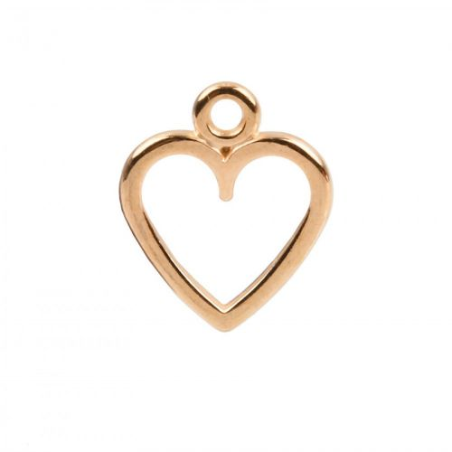 x Rose Gold Plated Zamak Hollow Heart Charm 11x12mm Pk1