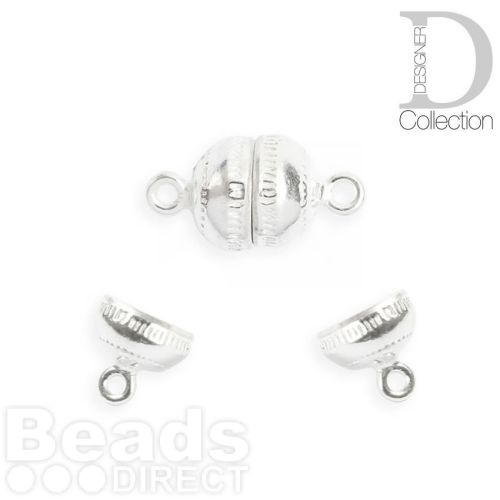 Sterling Silver 925 Small Round Magnetic Clasp 8x15mm Pk1