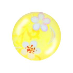 Glass cabochon with graphics K20 PT1474 / yellow / 20mm / 2pcs