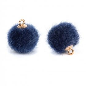 Dark Blue Faux Fur Pom Pom Ball Charm with Gold Loop 16mm Pk2