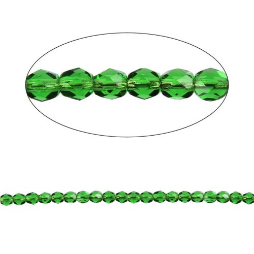 Czech Fire Polished 4mm Emerald Pk100