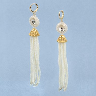 Ivory Shimmer Tassel Earrings