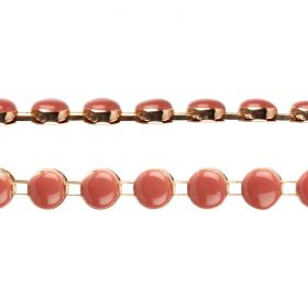 Gold Plated/Peach Enamel Round Cupchain 8.5mm Pre Cut 20cm