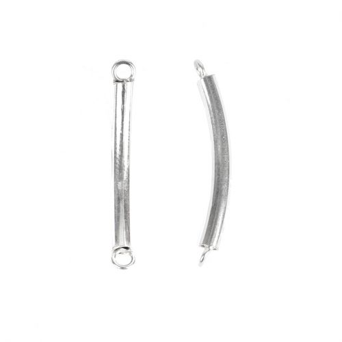 Sterling Silver 925 Connecter Noodle Tube Bar 3x29mm Pk2