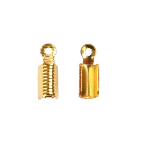 Gold plated cord end 11x3.5mm fold style 2.5mm