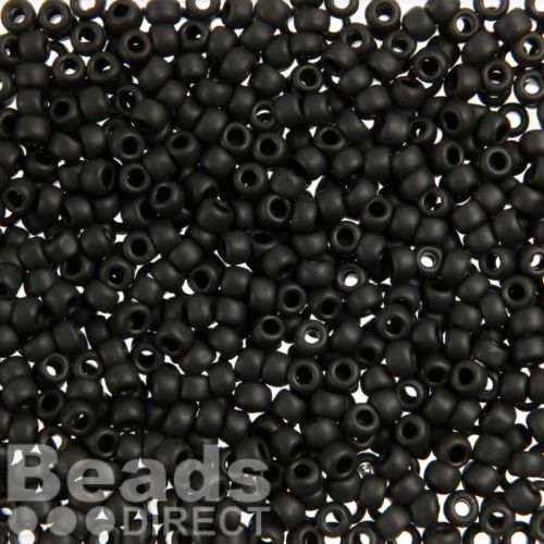 X-Toho Size 6 Round Seed Beads Opaque Frosted Jet 10g