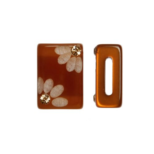 X-Topaz Flower Polaris Rectangle Bead with Swarovski Crystals 6x10x15mm Pk1