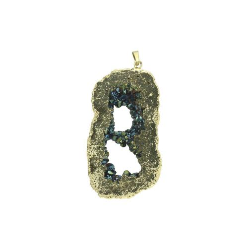 Druzy agate / pendant / irregular / 70x55x11mm / dark sea / 1pcs