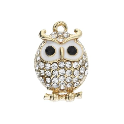 Glamm ™ Owl / charm pendant / with zircons / 21x14x10mm / gold plated / Crystal / 1pcs