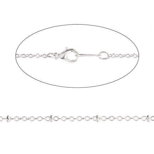 X Silver Plated Rondelle Trace Chain Necklace with Clasp 18""