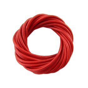 Leather cord / natural / round / 4mm / red / 2m