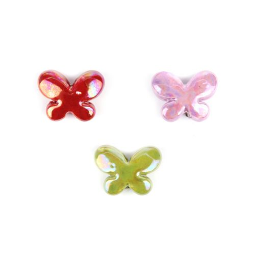 X-Large Ceramic Butterfly Bead Mix 17x23mm Pk3
