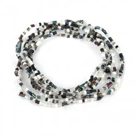 White and Black Mixed Tones Seed Bead Elastic Bracelet Pk7