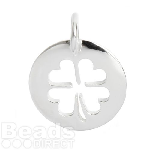 X-Sterling Silver 925 Cut Out 4 Leaf Heart Clover Coin 12.5mm Pk1