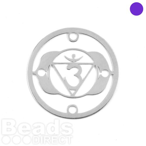 Sterling Silver 925 'Light' Chakra Connector 24mm Pk1