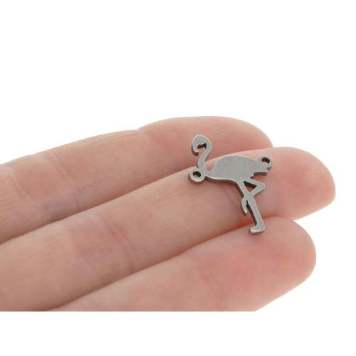 Flamingo / connector / surgical steel / 20x15x1.5mm / silver / 1pcs