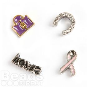 Horse Shoe, Lock, Love, Ribbon Small Floating Locket Charms Pk4