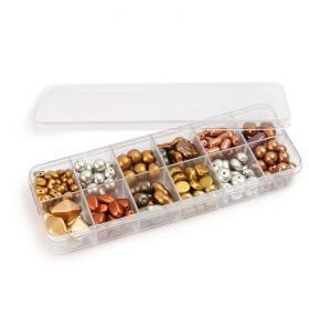 Frosted Metallic Glass Bead Selection 12x11g Box Set