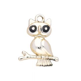 Owl / charm pendant / 24x18x4.5mm / gold plated / 2pcs
