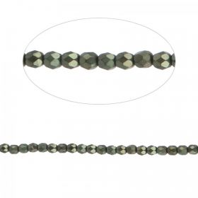 Preciosa Czech Fire Polished Beads 4mm Frosted Dark Olive Pk100