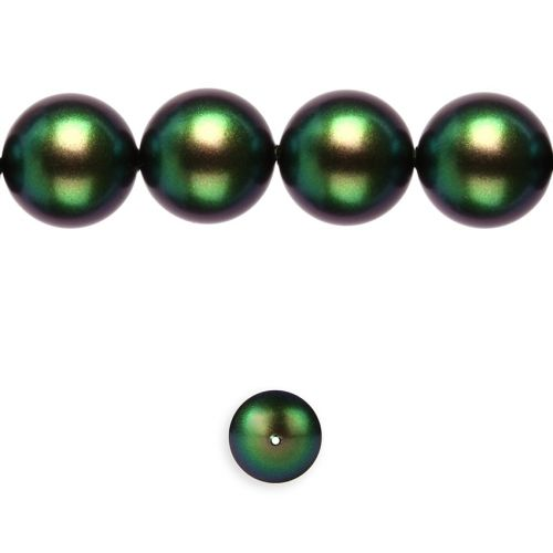 5810 Swarovski Glass Pearl 12mm Crystal Scarabaeus Green Pk10