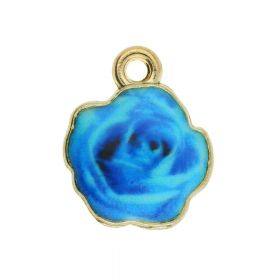 SweetCharm ™ Rose / charm pendant / 13.5x11mm / gold plated / blue / 2pcs