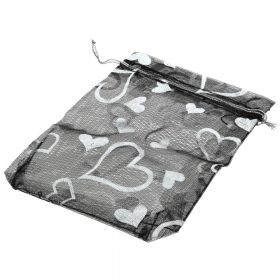 Organza bag / 10x12cm / black with silver hearts / 5pcs